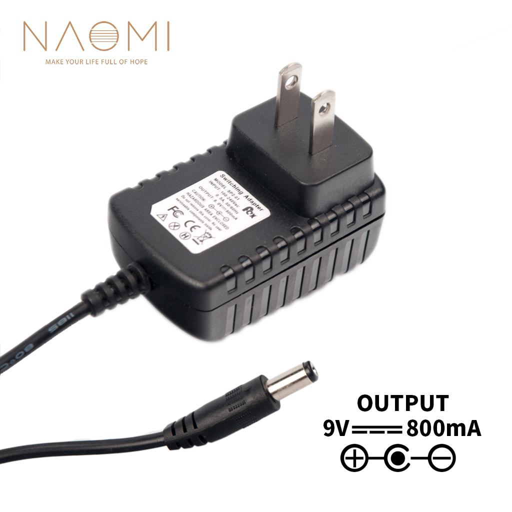 NAOMI Power Supply Charger 9V 800mA Power Supply Adapter Charger Black For Guitar Effects Pedal Parts US Plug Guitar Accessories