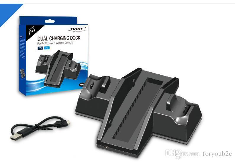 Suporte de marca nova Multifuncional Vertical Cooling com Dual USB Charger Dock para PS4 / para PS4 Magro / para PS4 Pro Console (TP4-882)