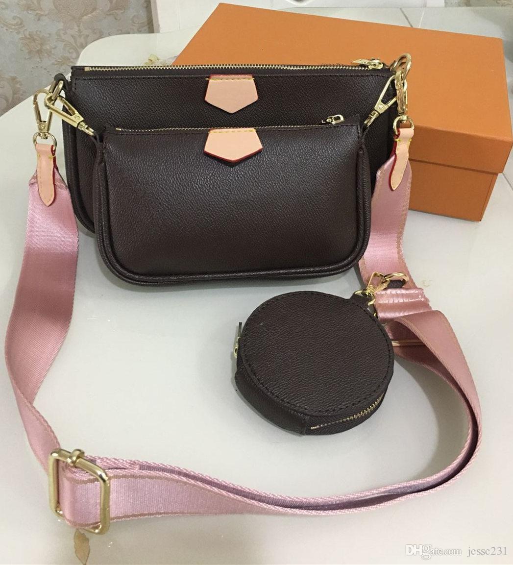 Модные сумки кошельки Женщины любимые мини Pochette 3шт Аксессуары для Crossbody мешок vintag плеча кожаные сумки многоцветной ремни бумажник