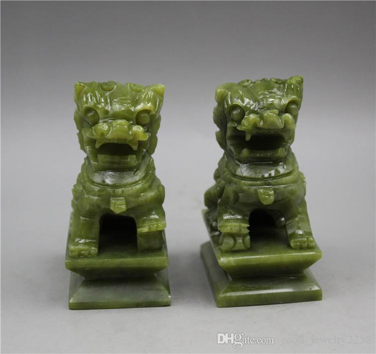1 paire jade vert de chine fengshui foo fu chien garde porte lion