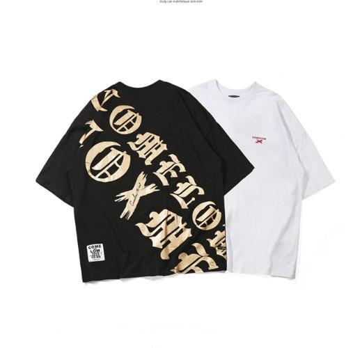 2019 Erkek Tişörtü Sokak Casual hip hop tarzı Harf Baskılı Pamuk Gevşek Stil Erkek Kısa Kollu Yuvarlak Yaka Tişört Ücretsiz Kargo toptan