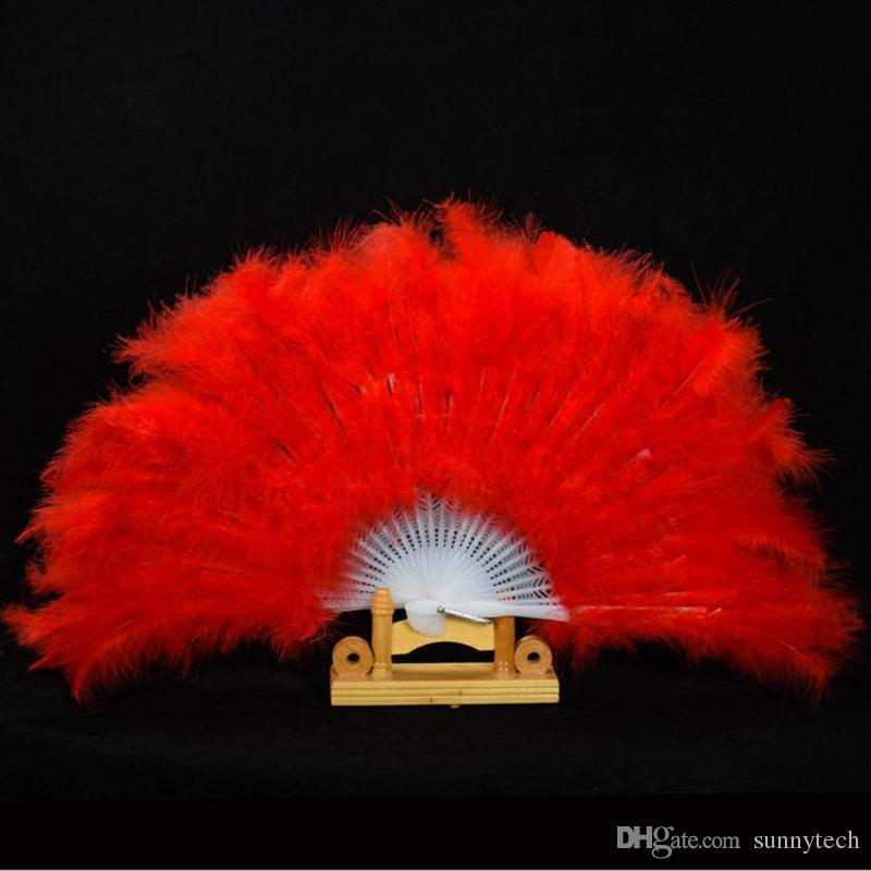 Showgirl Feather Fans Folding Dance Hand Fan Fancy Costumes For Women Wedding Party Supplies 13 Colors fast shipping F20171624