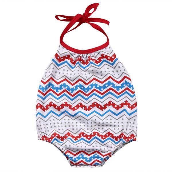 Infantil del bebé Body nueva llegada 2018 del verano muchachas del estilo Halter olas impresa sin respaldo de una sola pieza del traje del mono