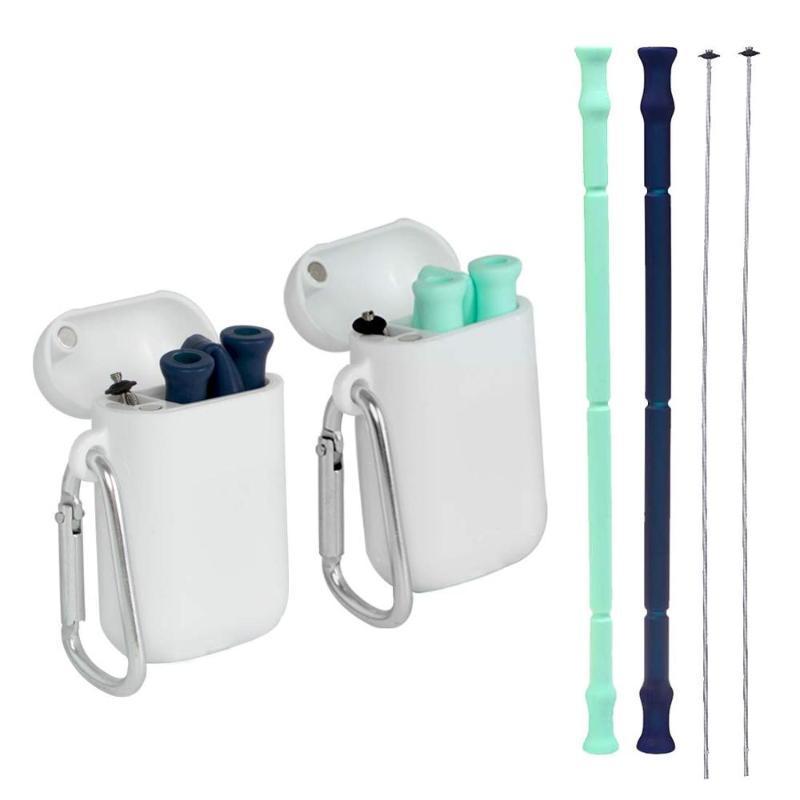 Nueva plegable Pajita plegables reutilizables de silicona de paja niños del bebé para las bebidas de oficina, viajes y el hogar