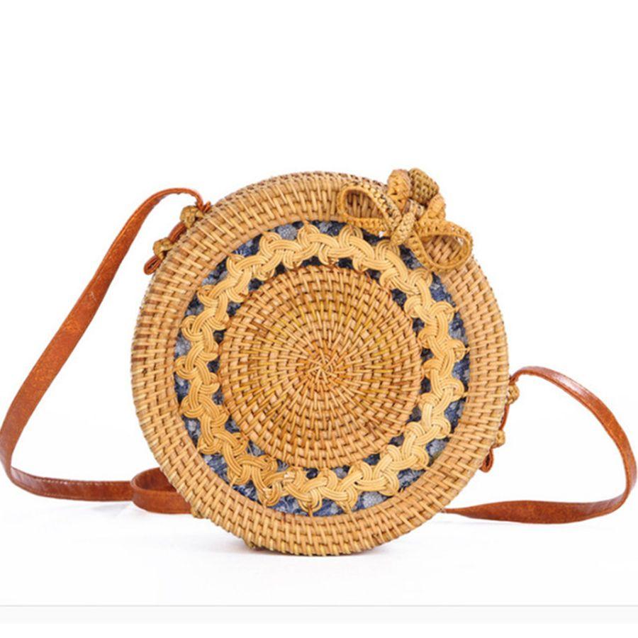 Dusun Summer Bali Hand-woven Rattan Bag Embroidery Shoulder Crossbody Bags Beach Straw Bag Bohemian Knitting Circular Handbags J190702