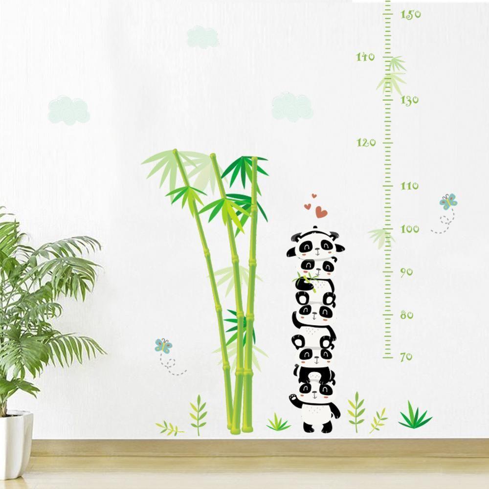 Medindo Altura bonito Parede de bambu Panda Etiqueta para quartos de crianças Quarto Sala Início decorações murais do berçário adesivos