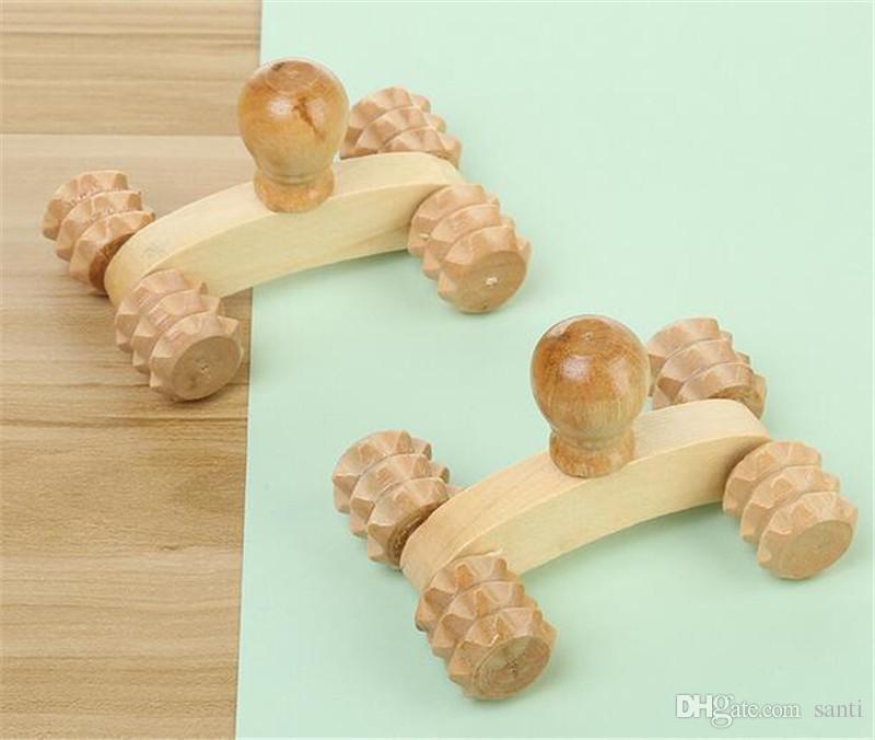 الخشب الصلب لكامل الجسم أربع عجلات سيارة خشبية الاسترخاء أداة تدليك اليد التفكير الوجه الوجه القدم العلاج الخلفي الجسم