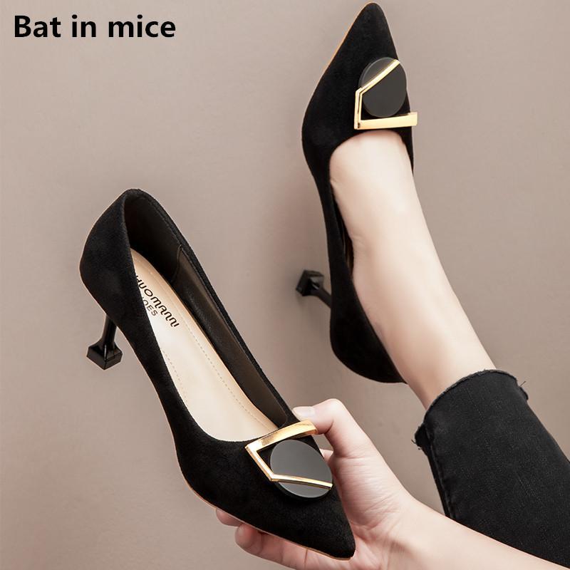 하이 힐 신발 여성 봄 가을 여성 여성 뾰족한 발가락 얇은 발 뒤꿈치 신발 파티 드레스 샌들 mujer W169 펌프