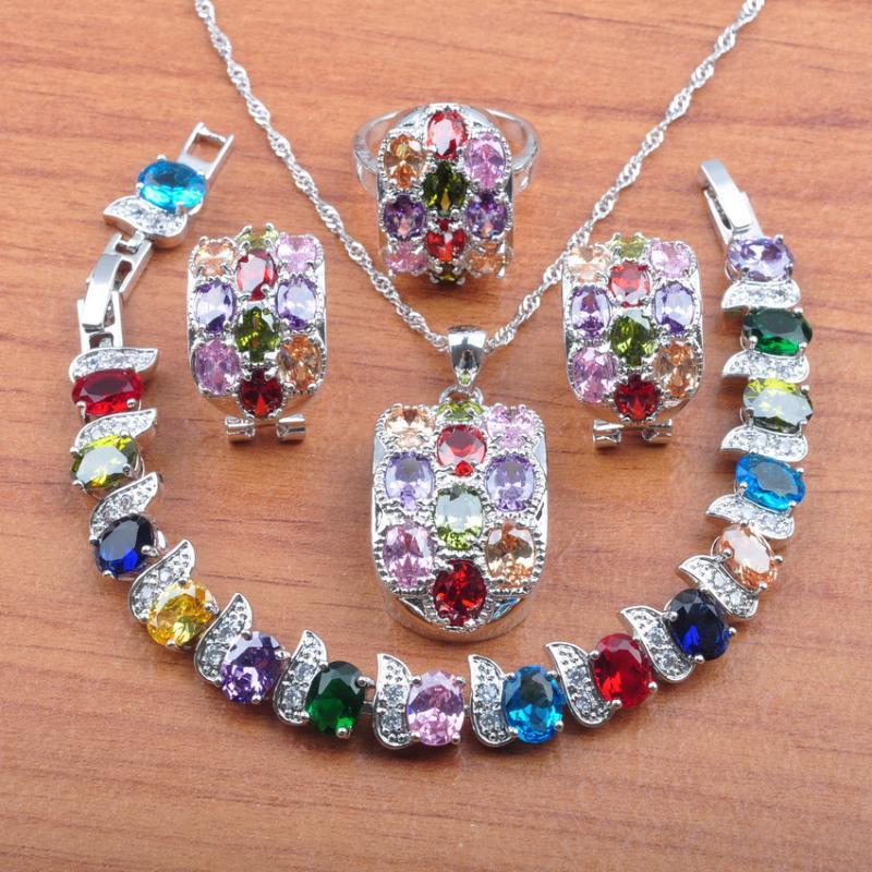 Incredibile nozze costume Donne Argento 925 Insiemi colorato zircone clip dei monili orecchini / collana / braccialetto / anello Imposta JS0522