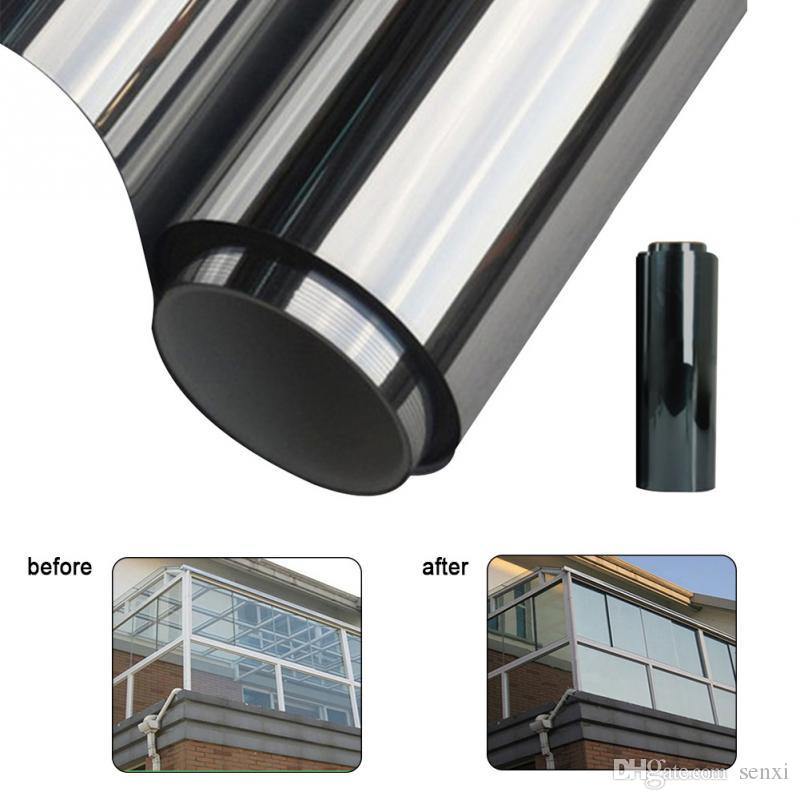 50cmx600cm Waterproof Window Film One Way Mirror Silver Insulation Stickers UV Rejection Privacy Windom Tint Films Home Decoration