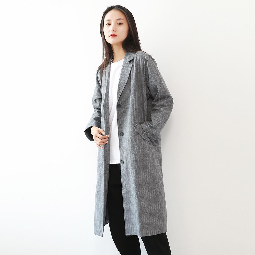 2019 Trench Coat automne manteau femmes causales bande coton femme manches longues unique poitrine avec poche des femmes de trenchs