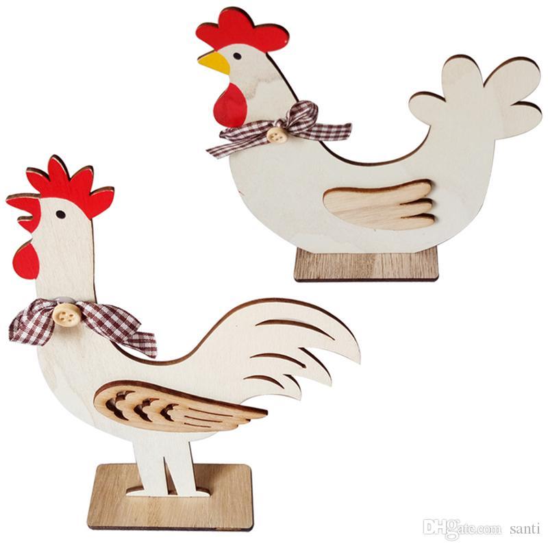 Decoraciones de Pascua Gallo Gallina de madera para el hogar Formas adornos de madera regalos Toy Room Decoración del arte de los niños Nordic Estilo jk2002