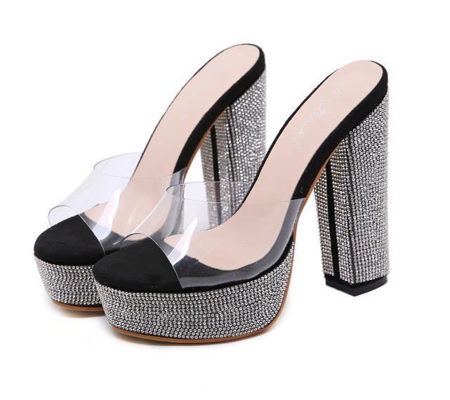 COEM mit Box 14cm schwarz PVC transparent Strass Designer Fersen klar Fersen nackt Pumpen Mode Luxus-Designer-Schuhe Frauen