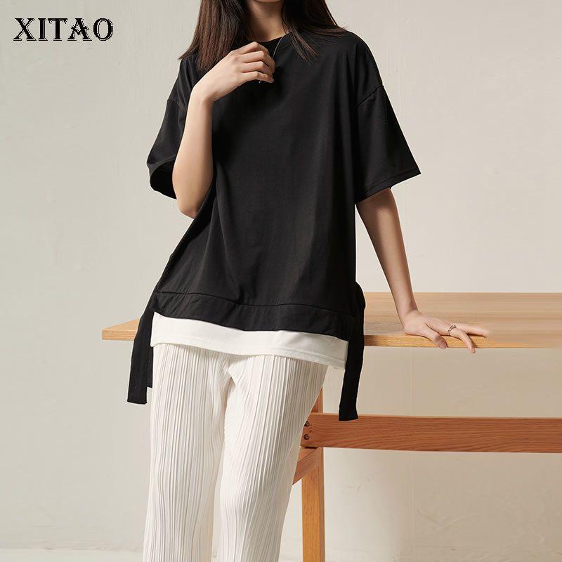 Xitao Kore Stili Sahte İki Adet Kurdele Tişörtlü Gevşek Artı boyutu Vahşi Kadınlar Moda Kadın Giyim 2020 İlkbahar Yeni DMY4273 T200512 Tops
