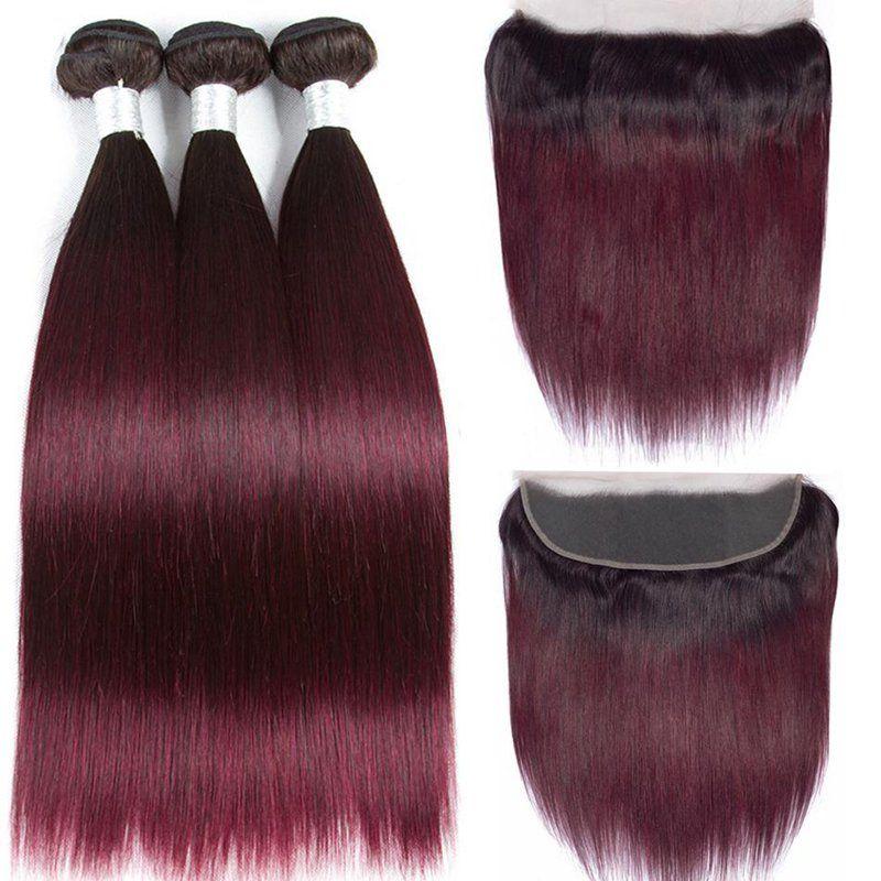 نوعية جيدة أومبير اللون #T 1B / 99J مستقيم ريمي الشعر البشري ينسج 3 حزم مع 13x4 الدانتيل أمامي اختتام