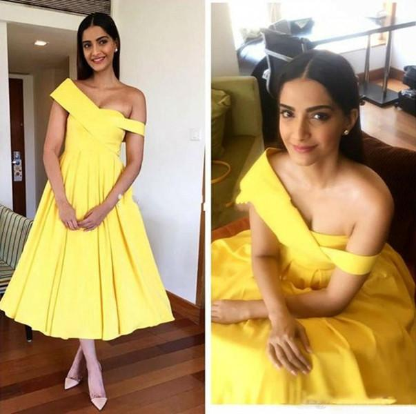 Sexy Short Homecoming Dresses Yellow Stain One Shoulder A-line Tea Length Prom Dresses Cheap Ruched Short Cocktail Party Gowns Evening Gown