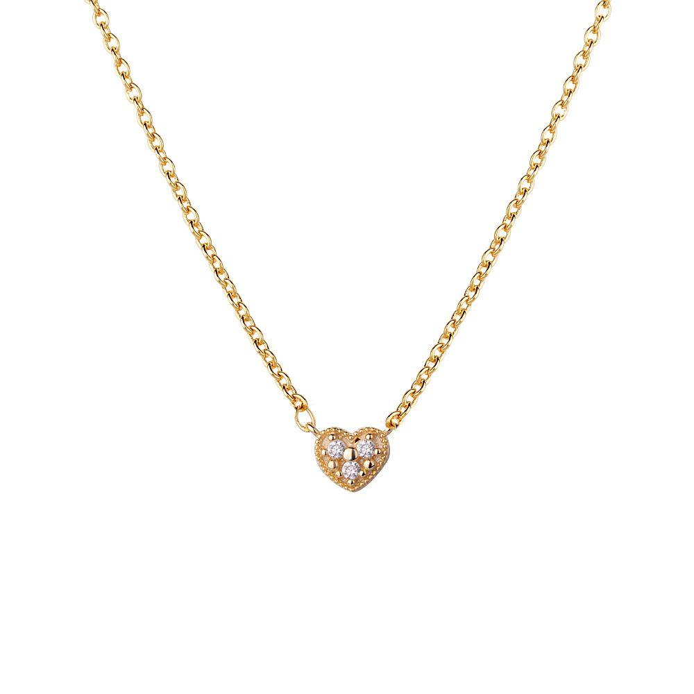 sevgilisi hediye narin zincir minimum kalp cz yeni tek taş tasarımı sevimli gümüş 925 kalp kolye lâl ALTIN rengi