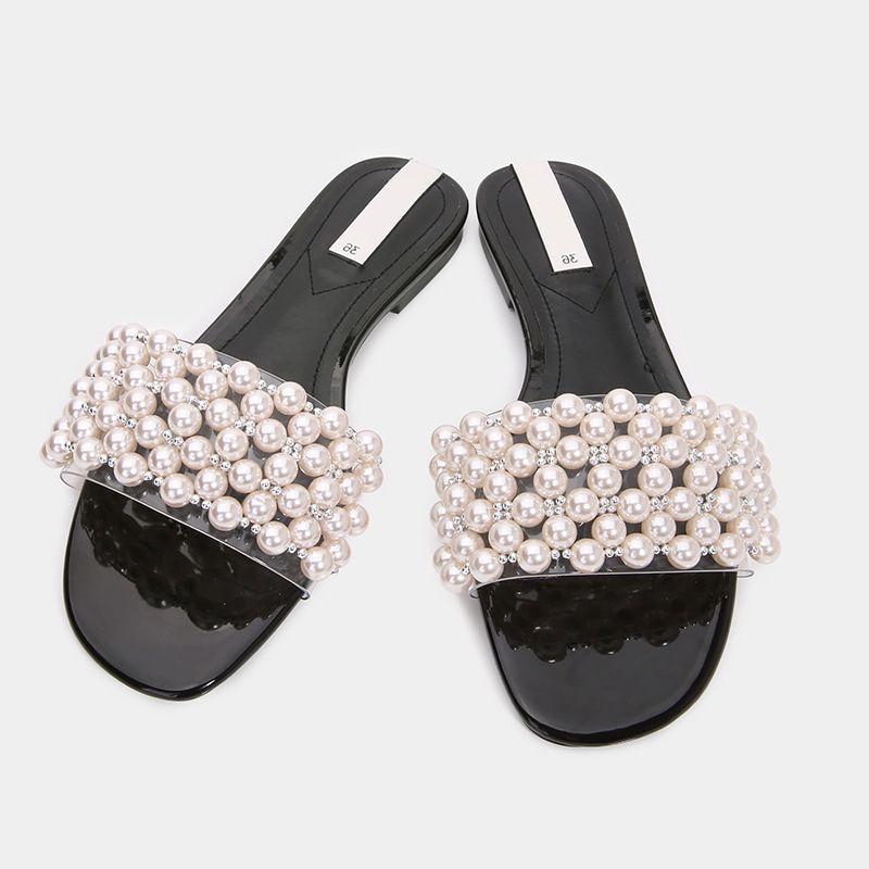 Talón de las zapatillas mujeres de la alta perla Diapositivas playa de las mujeres del estilo de tacón alto sandalias Cadena cuadrada de Cuentas Diapositivas verano
