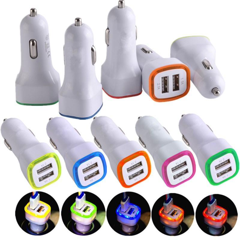 Universal-LED-Licht Dual USB-Anschlüsse 2.1A Auto-Netzteil-ADAPTER-Autoladegerät für Samsung LG GPS-PC