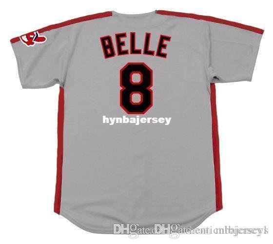 ALBERT barato personalizado BELLE Cleveland cosido 1993 Majestic vendimia lejos del jersey de béisbol retro running para hombre jerseys