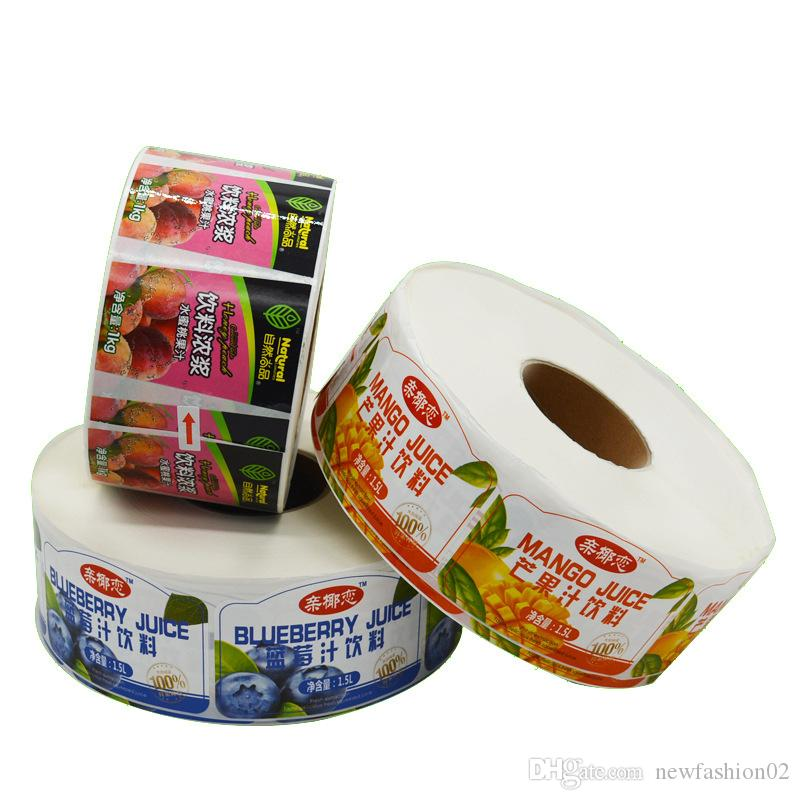 Benutzerdefinierte Vinyl wasserdicht Vorder- und Rückseite Paketaufkleber weiß BOPP Rolle Aufklebers Farbdruck Flaschenetiketten