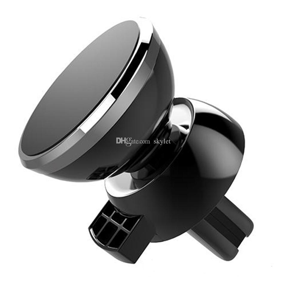 Support magnétique puissant pour voiture Ventilation 360 ° rotation universel support de téléphone pour téléphones cellulaires universels avec boîte de vente au détail