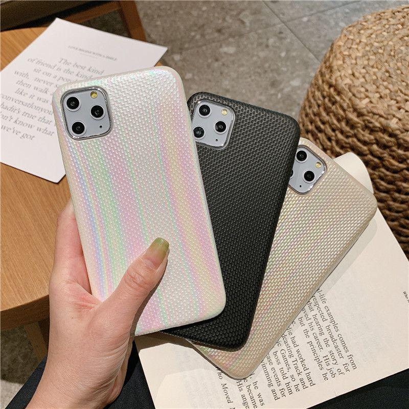 La textura del brillo de Bling del arco iris láser de lujo ultra fina de cuero de la PU suave de la cubierta del caso para iPhone 11 Pro Max 2019 XR XS X 6 7 8 6S Plus