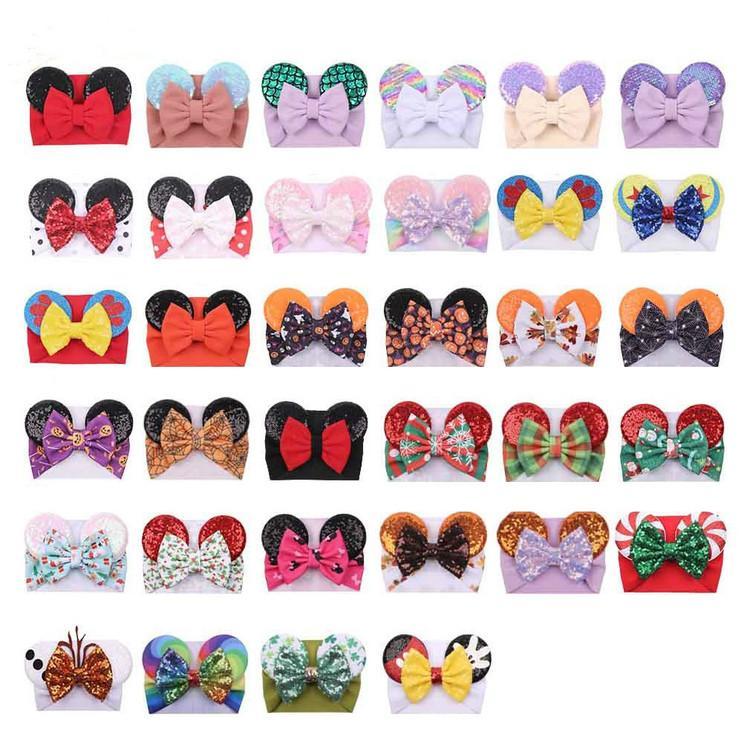 귀여운 큰 나비 와이드 아기 소녀 머리 띠가 스팽글 마우스 귀 소녀 헤어 액세서리 34 색 휴일 메이크업 헤어 밴드