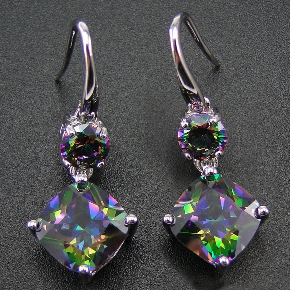100% 925 Sterling Silver Earring With Rainbow Mystic Topaz Drop Earrings Women Jewelry Earrings With Cz Stone Earrings For Women J190703