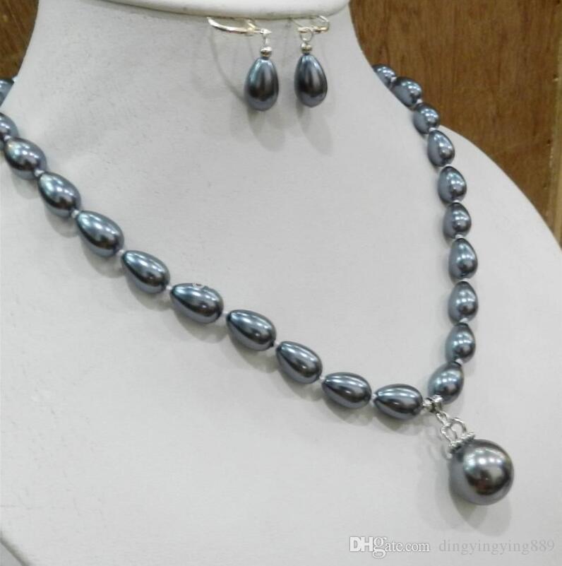 jóias muito boas em Teardrop Cinza escuro Akoya Colar de pérolas cultivado Brinco Brinco de 16 mm Pingente de prata gancho de Prata Atacado Natural Fr