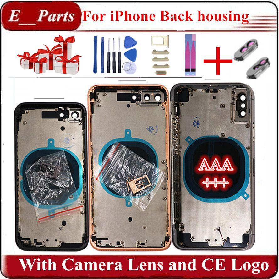 (المواد الأصلية)! ل iPhone 7 7P 8 8 Plus X الغطاء الخلفي الإسكان + هيكل الشاسيه الأوسط + عدسة الكاميرا + بطاقة SIM كاملة الإسكان الجمعية