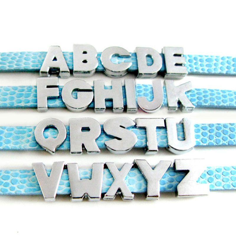 20 UNIDS 8 MM No Rhinestone Letras de Diapositivas encantos de la letra simple U-Z Fit DIY Muñequera / Pulsera LSSL09
