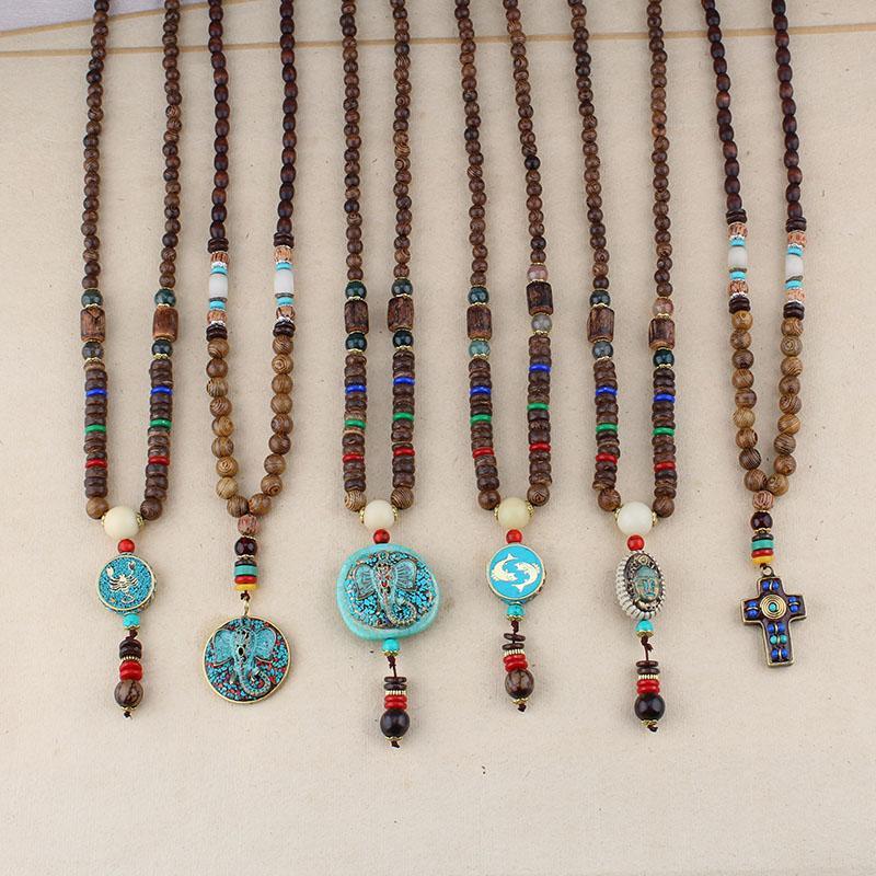 Collana trasversale Handmade Nepal collana per le donne gli uomini Buddha Mala perline di legno gioielli etnici Dichiarazione di pesce lungo elefante