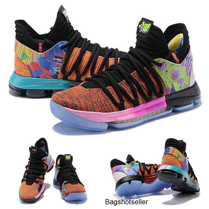 2020 Arrival What the KD X 10s Ice Blue Pink Green Sports Kids Basketball Shoes 10s quality Kevin Durant 10 EP Athletic Sneakers