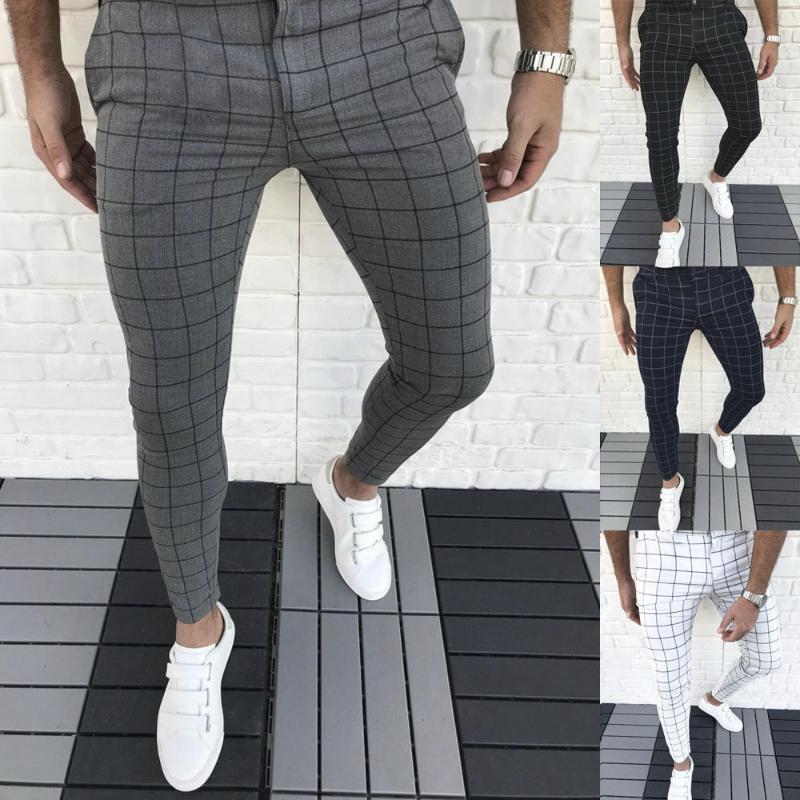 Vendita calda 2020 degli uomini modo di alta qualità dei pantaloni di autunno della molla degli uomini dei pantaloni Maschio Classic Business Casual lunghezza pantaloni completa