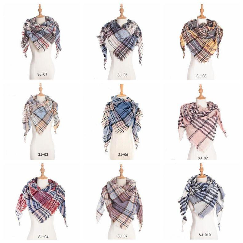 Plaid Scarves Girls Lattice Triangle Neck Scarf Grid Oversized Tassel Wraps Check Shawl Fringed Pashmina Winter Neckerchief Blankets C6076