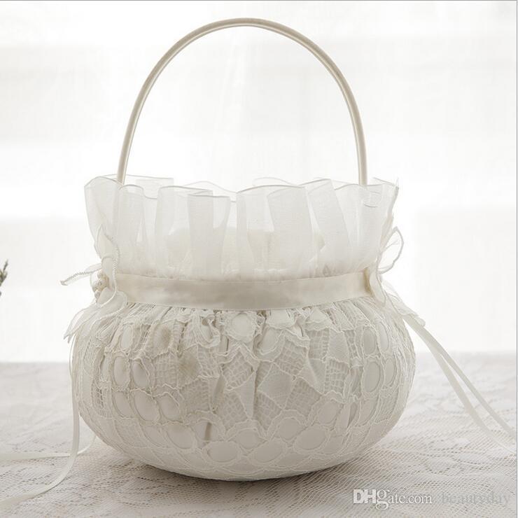 Bridal Wedding Ceremony Pocket Ring Pillow Cushion Bearer with Satin Ribbons Wedding Flower Girl Basket Set For Wedding Decoration