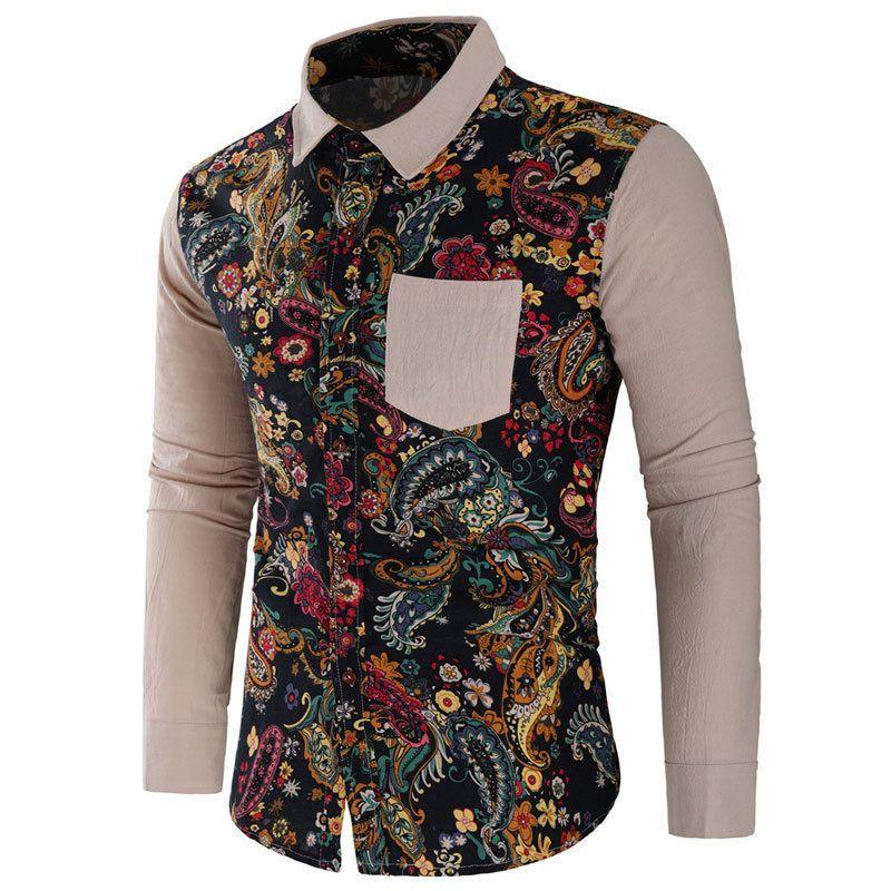 Erkekler Şık Gömlek Casual Biçimsel Slim Fit Uzun Kollu Lüks Tee Shirt Vintage Çiçek Gömlek