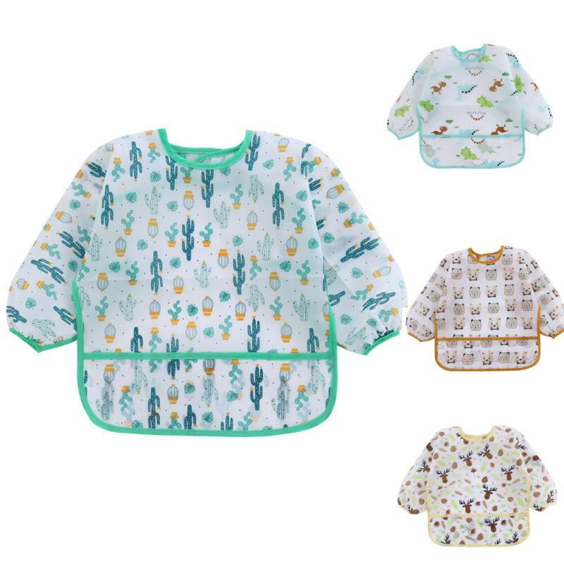 Bebês Crianças Luva longa da criança impermeável Alimentação arte da blusa Bib bonito do dinossauro dos desenhos animados Burp panos avental bolso 1-6Y