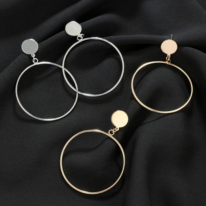 Heiße verkaufende neue koreanische Ohrringe für Mädchen große geometrischen Ohrring Frauen runden Ohrring Gold-Silber-Schmuck kreativen großen Kreises-Bolzen
