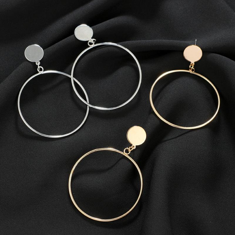 핫 큰 기하학적 창조적 큰 원 라운드 귀걸이 금은 보석 귀걸이 여성 스터드 여자의 새로운 한국어 귀걸이를 판매