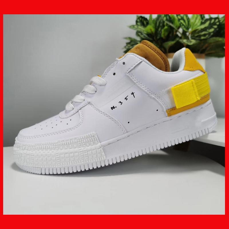 Comprar nuevo hombres de las mujeres de moda los zapatos AF1 tipo 1s diseñador uno del monopatín Af1 las zapatillas de deporte baja en blanco y negro de alta calidad de color amarillo azul