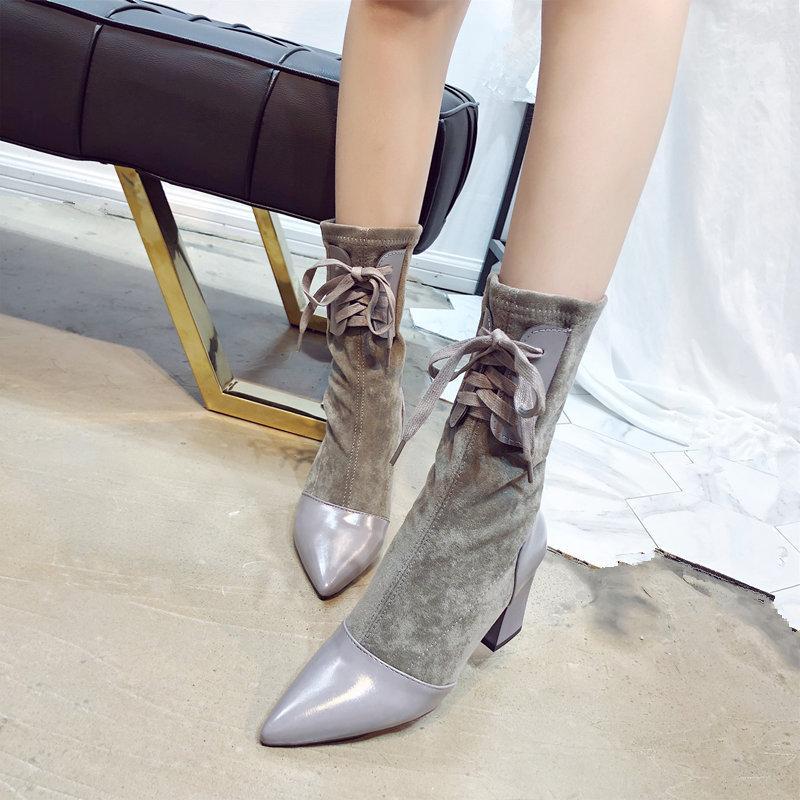 Горячие Сбывание Мода Короткие сапоги коренастый пятки Женская обувь GriL лодыжки загрузки Натяжные носки сапоги носками туфли на высоком каблуке полусапожки