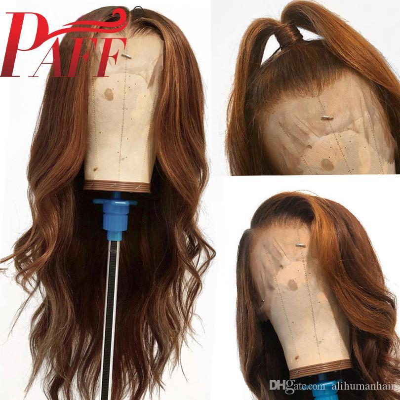 PAFF LONG WIG 360 Dentelle Perruque Frontale Couleur Brown Couleur Dentelle Front Human Hair Perruques avec cheveux Basilian Remy Brésilien pour femmes