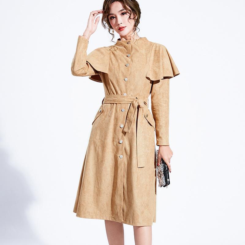 2020 Женщины пальто вскользь однобортный ретро Стенд воротник Тонкий Ruffled моды пальто моды орденские ленты Офис Outwear