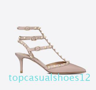 Vendita calda-Designer Scarpe a punta in pelle verniciata Borchie rivetti sandali Womens Studded Strappy Abito scarpe Valentino 10CM 6CM tacco alto Scarpe t12