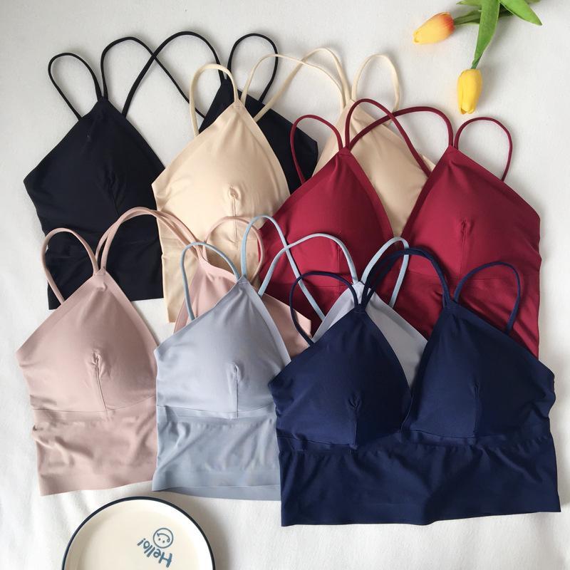 Figura Foto 2019 estilo coreano Moda Verão New Style DO Viscose MENINA Beauty Voltar Bra sem anel de aço Underwear Tubo Top