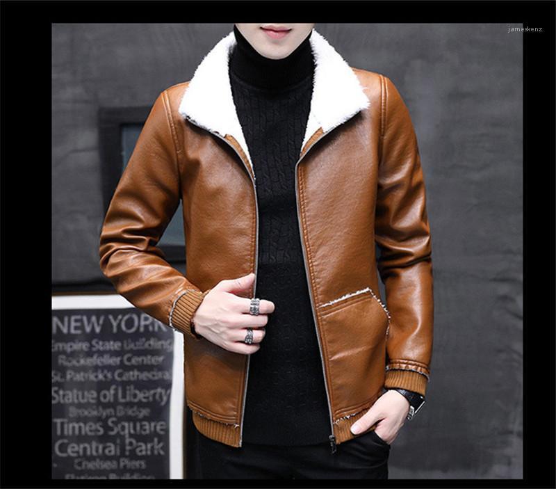 PU Ceket Yaka Yaka Uzun Kollu Katı Renk Homme Coats Moda Fermuar Fly Erkek Kalın Giyim Erkek Sonbahar Kış