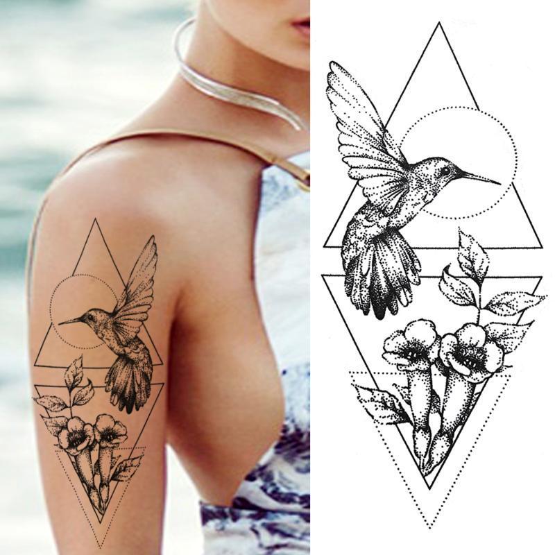 Oiseau réaliste sexy tatouages temporaires fleur Filles Femmes Body Art Noir Petite Rose Faux géométrique imperméable autocollants tatouage