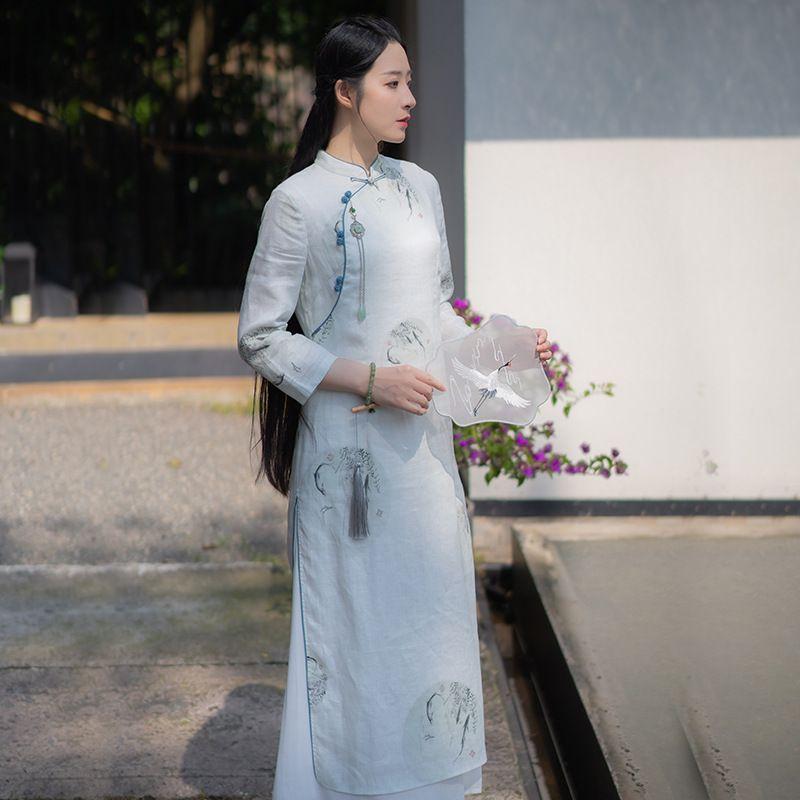 hanfu moderna estate cheongsam tradizionale cinese pannelli esterni del vestito di fascia alta della donna elegante stile cinese stampa abito di lino Slim